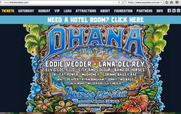 Headliners include Eddie Vedder and Lana Del Ray