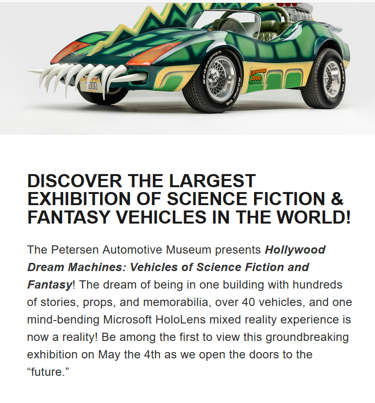 Science Fiction Vehicles Come To Life starting May 04, 2019